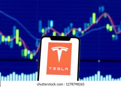 Hong Kong, China - 28 December 2018: Tesla Motors logo is seen on an smartphone over stock chart