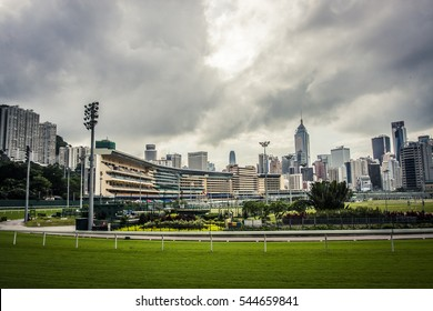 Hong Kong, China - 3 June, 2009: Horse racing at the Happy Valley Racecourse in Hong Kong