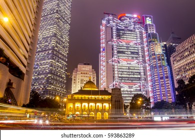 Hong Kong, China - 9 April 2010: Skyline of the city with light streaks from traffic at nighttime