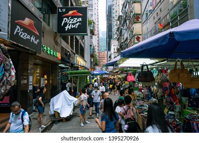 Hong Kong, China - Apr 21, 2019: Street market