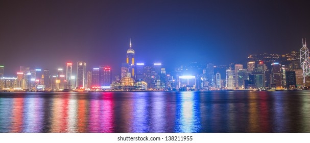 HONG KONG, CHINA - APR 6: Night View of Victoria Harbour in Hong Kong on April 6, 2013. The Night View of Hong Kong rated as Top Three Best Night Scene in the World.