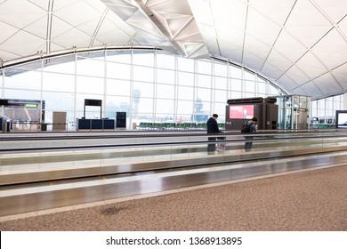 HONG KONG, CHINA - April 17, 2013 - Travalator at Hong Kong International airport