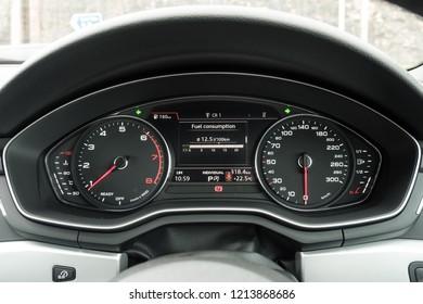 Hong Kong, China April 20, 2018 : Audi A5 Coupe 2018 Dashboard April 20 2018 in Hong Kong.