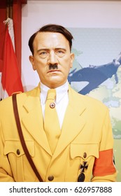 HONG KONG, China. April 21, 2017: Picture of Adolf hitler statue in the Madame Tussaud museum in Hong Kong, China
