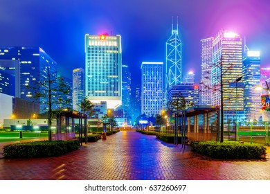 HONG KONG, CHINA - APRIL 25: Night view of skyscrapers and architecture from Tamar park in the financial district of Hong Kong on April 25, 2017 in Hong Kong