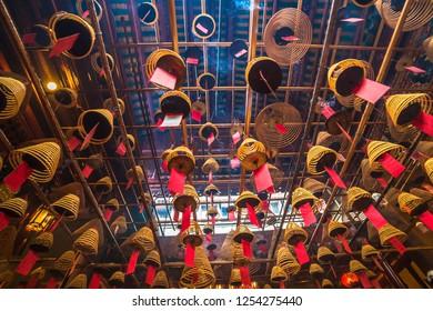 Hong Kong, China - April, 26, 2018: Interior of Man Mo Temple in Hong Kong