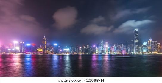 Hong Kong, China - April, 28, 2018: Panoramic view of Hong Kong city skyline at night