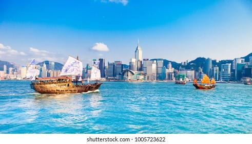 Hong Kong, Hong Kong, China. April 30, 2017. Hong Kong harbour with tourist junk