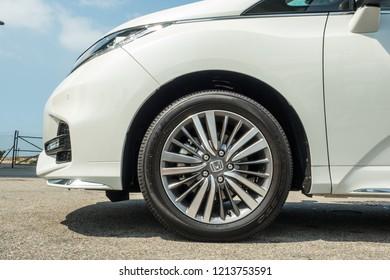 Hong Kong, China April 4, 2018 : Honda Odyssey 2018 Wheel April 4 2018 in Hong Kong.