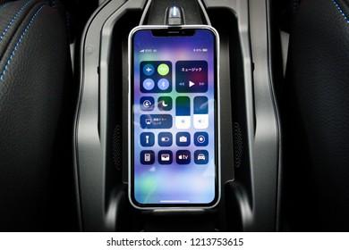 Hong Kong, China April 4, 2018 : Mercedes-Benz X2 M Sport 2018 Mobile Phone Wireless Charger April 4 2018 in Hong Kong.