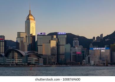Hong Kong China Asia Jan 14, 2018 Hong Kong island seen across Hong Kong harbour from Tsim Sha Tsui