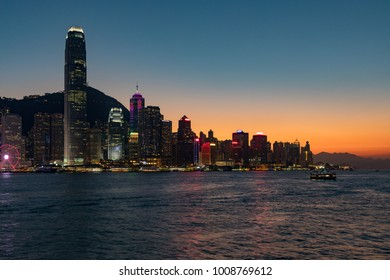 Hong Kong China Asia Jan 14, 2018 Hong Kong island seen across Hong Kong harbour from Tsim Sha Tsui at night