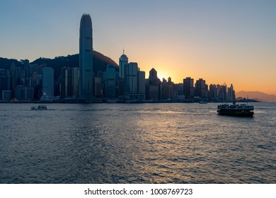 Hong Kong China Asia Jan 14, 2018 Hong Kong island seen across Hong Kong harbour from Tsim Sha Tsui