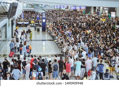 Hong Kong, China - Aug 10, 2019: Anit-Extradition Bill protestors gathered at the Hong Kong International Airport to show tourists and the world what is happening in Hong Kong.