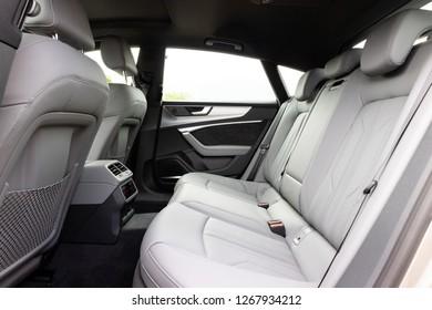 Hong Kong, China Aug 15, 2018 : Audi A7 Sportback 2018 Rear Seat Aug 15 2018 in Hong Kong.