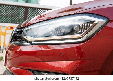 Hong Kong, China Aug 15, 2018 : Volkswagen Golf Sportvan 2018 Head Light Aug 15 2018 in Hong Kong.