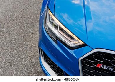 Hong Kong, China Aug 21, 2017 : Audi RS 3 Sedan 2017 Head Light Aug 21 2017 in Hong Kong.