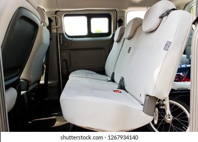 Hong Kong, China Aug 22, 2018 : Nissan NV200 VAN 2018 Rear Seat Aug 22 2018 in Hong Kong.