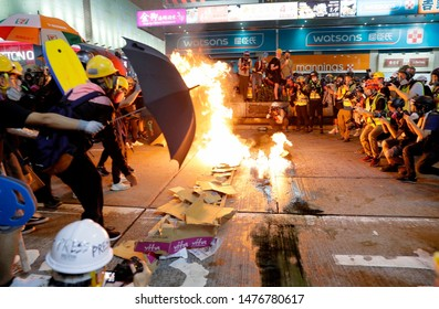 Hong Kong / China - August 11, 2019: The Hong Kong anti-extradition bill protests are a series of ongoing demonstrations in Hong Kong. police fire teargas as thousands march in Yuen Long.