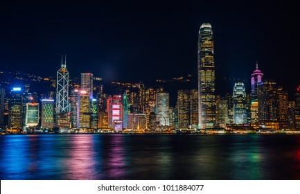 Hong Kong, China - August 20, 2017: Hong Kong panorama skyline with Central Plaza, Hong Kong Convention and Exhibition Centre, Bank of China, HSBC, Two International Finance Centre, Observation Wheel.