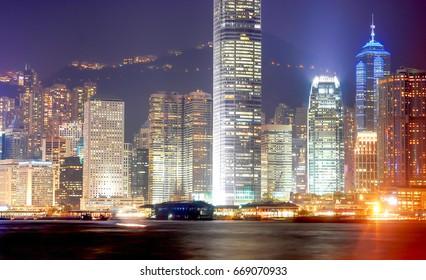 Hong Kong, China - August 27, 2012: Hong Kong skyline night view