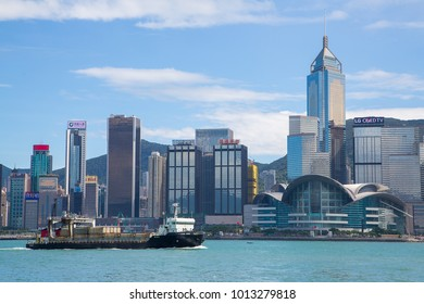 Hong Kong, China. August 30, 2017. Hong Kong, China skyline panorama from across Victoria Harbor with ships tankers and harbour.