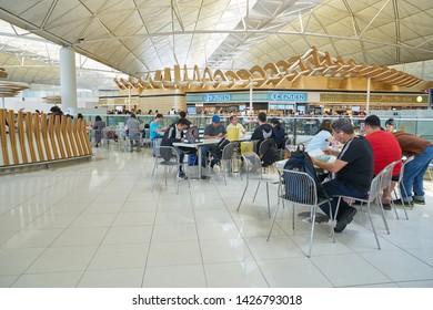 HONG KONG, CHINA - CIRCA APRIL, 2019: interior shot of Hong Kong International Airport.