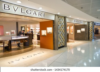 HONG KONG, CHINA - CIRCA APRIL, 2019: Bvlgari store in Hong Kong International Airport.