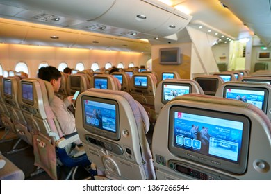 HONG KONG, CHINA - CIRCA FEBRUARY, 2019: interior shot of lower deck in Emirates Airbus A380.