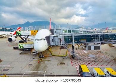 HONG KONG, CHINA - CIRCA FEBRUARY, 2019: Qantas Airbus A380-800 on tarmac at Hong Kong International Airport.