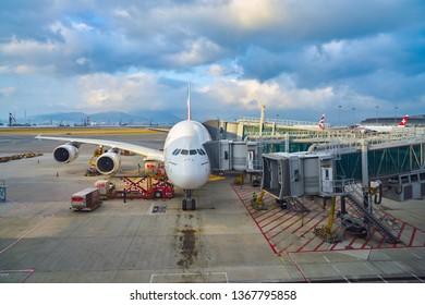 HONG KONG, CHINA - CIRCA FEBRUARY, 2019: Emirates Airbus A380-800 on tarmac at Hong Kong International Airport.