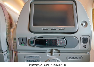 HONG KONG, CHINA - CIRCA FEBRUARY, 2019: ICE (Information, Communication, Entertainment) control in Economy Class of Emirates Airbus A380.