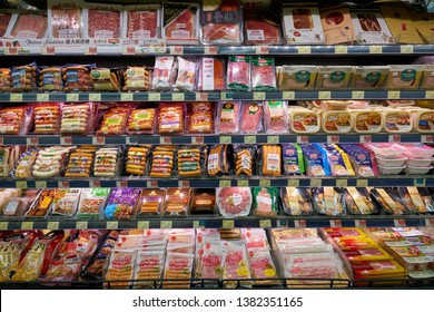 HONG KONG, CHINA - CIRCA FEBRUARY, 2019: meat products on display at Market Place by Jasons supermarket, owned by Dairy Farm Group.