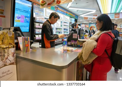 HONG KONG, CHINA - CIRCA JANUARY, 2019: 7-Eleven convenience store in Hong Kong international Airport.