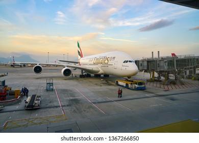 HONG KONG, CHINA - CIRCA JANUARY, 2019: Emirates Airbus A380 at Hong Kong International Airport.