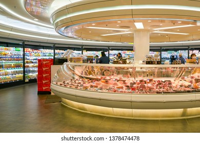 HONG KONG, CHINA - CIRCA JANUARY, 2019: interior shot of ThreeSixty supermarket in Elements shopping mall in Hong Kong.