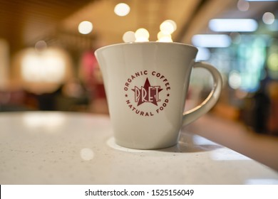 HONG KONG, CHINA - CIRCA JANUARY, 2019: close up shot of a cup at Pret a Manger. Pret a Manger is an international sandwich shop chain based in the United Kingdom.