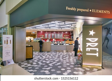 HONG KONG, CHINA - CIRCA JANUARY, 2019: entrance to Pret a Manger in Elements shopping mall. Pret a Manger is an international sandwich shop chain based in the United Kingdom.