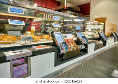 HONG KONG, CHINA - CIRCA JANUARY, 2019: payment terminals seen at Pret a Manger. Pret a Manger is an international sandwich shop chain based in the United Kingdom.