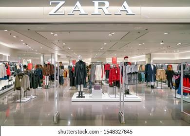 HONG KONG, CHINA - CIRCA JANUARY, 2019: entrance to Zara store in Elements shopping mall.