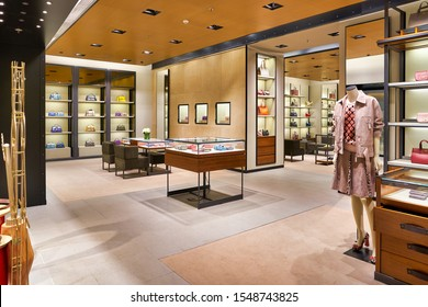 HONG KONG, CHINA - CIRCA JANUARY, 2019: interior shot of Bottega Veneta store in Elements shopping mall. Bottega Veneta is an Italian luxury goods and high fashion brand.