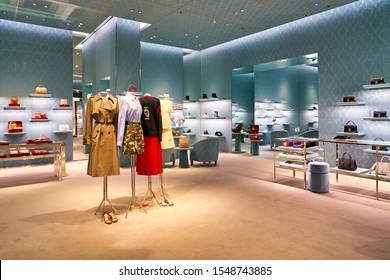 HONG KONG, CHINA - CIRCA JANUARY, 2019: interior shot of Miu Miu store in Elements shopping mall. Miu Miu is an Italian high fashion women's clothing and accessory brand.
