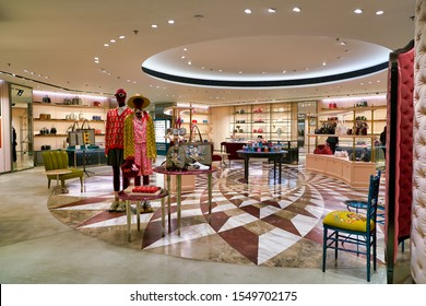 HONG KONG, CHINA - CIRCA JANUARY, 2019: goods on display at Gucci store in Elements shopping mall. Gucci is an Italian luxury brand of fashion and leather goods.