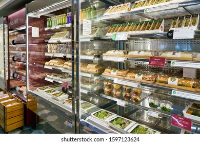 HONG KONG, CHINA - CIRCA JANUARY, 2019: food on display at Pret a Manger in Elements shopping mall. Pret a Manger is an international sandwich shop chain.