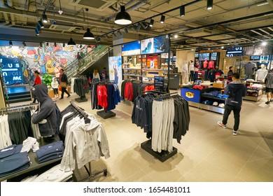 HONG KONG, CHINA - CIRCA JANUARY, 2019: interior shot of a Foot Locker store in Hong Kong. Foot Locker Retail, Inc. is an American sportswear and footwear retailer.