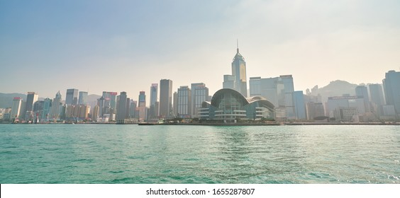 HONG KONG, CHINA - CIRCA JANUARY, 2019: Wan Chai as seen from Victoria Harbour in the daytime.