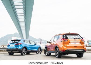 Hong Kong, China Dec 1, 2017 : Nissan Qashqai & X-Trial 2017 Test Drive Day Dec 1 2017 in Hong Kong.