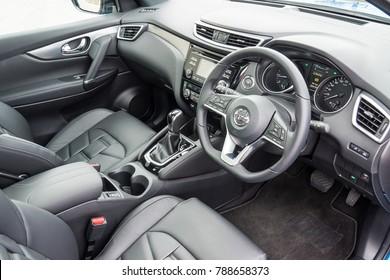 Hong Kong, China Dec 1, 2017 : Nissan Qashqai 2017 Interior Dec 1 2017 in Hong Kong.