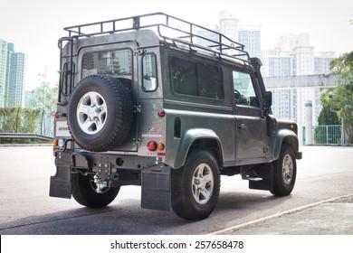 Hong Kong, China Dec 10, 2014 : Land Rover Defender 2014 test drive on Dec 10 2014 in Hong Kong.