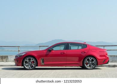 Hong Kong, China Dec 11, 2017 : Hyundai Stinger GT Dec 11 2017 in Hong Kong.